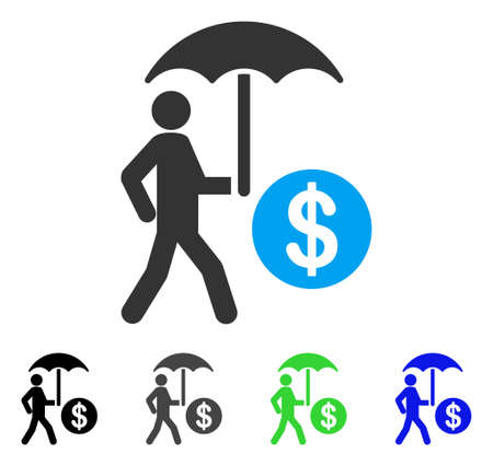 Finanzschirm-Schutzvektorpiktogramm. Stil ist ein flaches Grafiksymbol in den Farben schwarz, grau, blau und grün. Entwickelt für Web- und mobile Apps.