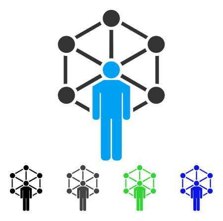 인간의 네트워크 벡터 아이콘입니다. 스타일은 검정색, 회색, 파란색, 녹색 색상 변형의 평면 그래픽 심볼입니다. 웹 및 모바일 앱용으로 설계되었습니