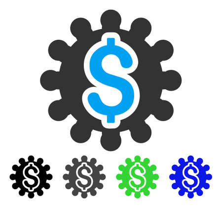 install: Payment Options Cog vector pictograph. Style is a flat graphic symbol in black, gray, blue, green color versions. Designed for web and mobile apps.