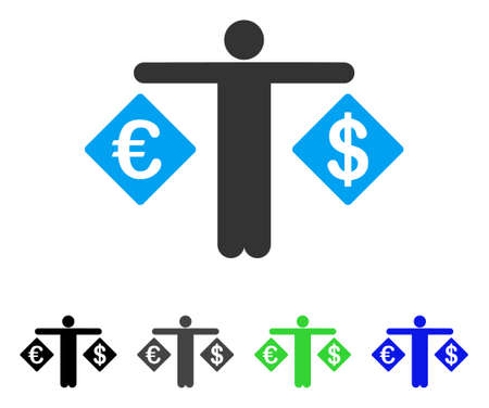 Person comparing dollar and euro in blue circle frame. Illustration