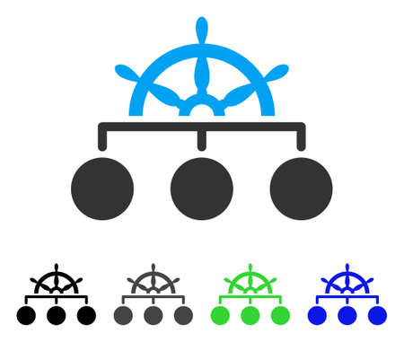 Ship Wheel Hierarchy vector pictogram. Style is a flat graphic symbol in black, gray, blue, green color variants. Designed for web and mobile apps.