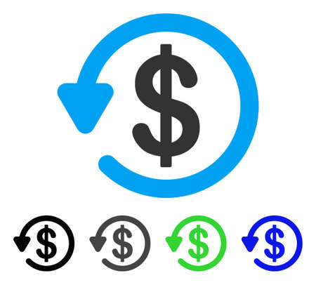 Refund vector pictograph. Style is a flat graphic symbol in black, grey, blue, green color versions. Designed for web and mobile apps.
