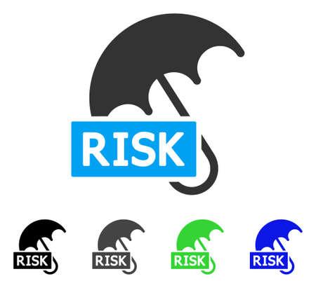 Risiko Regenschirm Vektor Icon. Style ist ein flaches Grafiksymbol in den Varianten schwarz, grau, blau, grün. Entwickelt für Web- und mobile Apps.