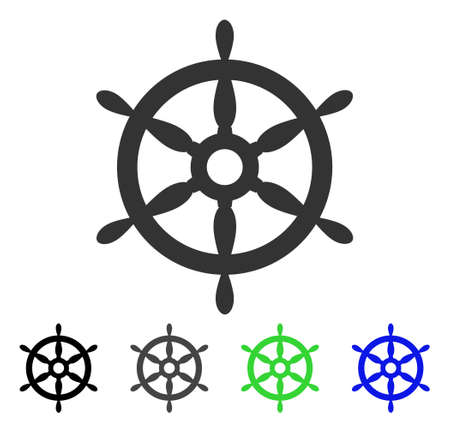 Ship Steering Wheel vector pictogram. Style is a flat graphic symbol in black, gray, blue, green color variants. Designed for web and mobile apps. Çizim