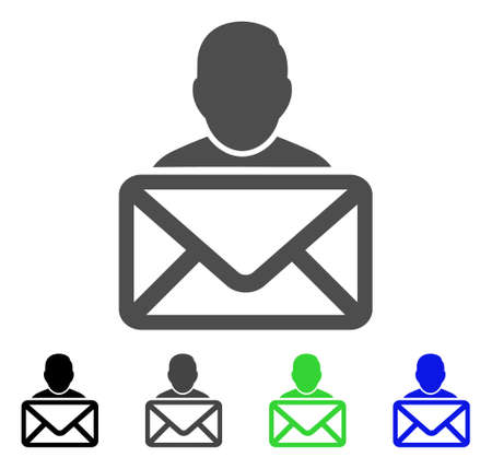 Mail Recipient vector pictogram. Style is a flat graphic symbol in black, gray, blue, green color variants. Designed for web and mobile apps.