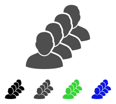 People Queue vector icon. Style is a flat graphic symbol in black, grey, blue, green color versions. Designed for web and mobile apps.
