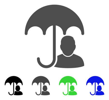 Benutzersicherheitsschirm-Vektorpiktogramm Stil ist ein flaches Grafiksymbol in den Farbvarianten Schwarz, Grau, Blau und Grün. Entwickelt für Web- und mobile Apps.