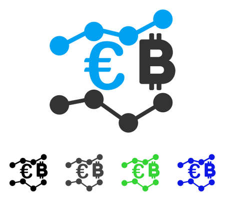 Euro Bitcoin Charts vector icon. Style is a flat graphic symbol in black, grey, blue, green color versions. Designed for web and mobile apps. Illustration