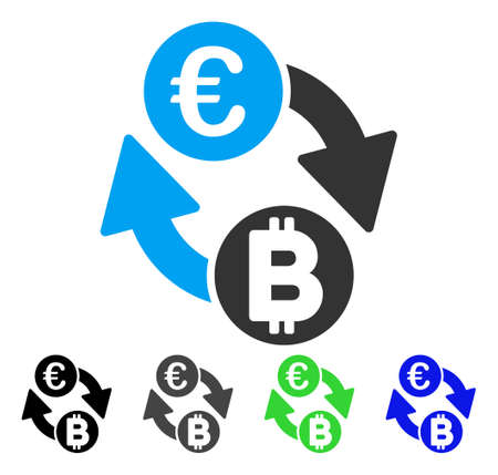 Euro Bitcoin Exchange Coins vector icon. Style is a flat graphic symbol in black, gray, blue, green color versions. Designed for web and mobile apps. Illustration