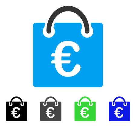 Euro Shopping Bag vector pictograph. Style is a flat graphic symbol in black, gray, blue, green color variants. Designed for web and mobile apps. Illustration