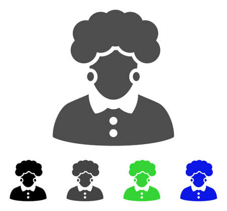Brunette Woman vector icon. Style is a flat graphic symbol in black, grey, blue, green color versions. Designed for web and mobile apps.