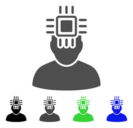 Neuro Interface vector pictogram. Style is a flat graphic symbol in black, grey, blue, green color variants. Designed for web and mobile apps. Illustration