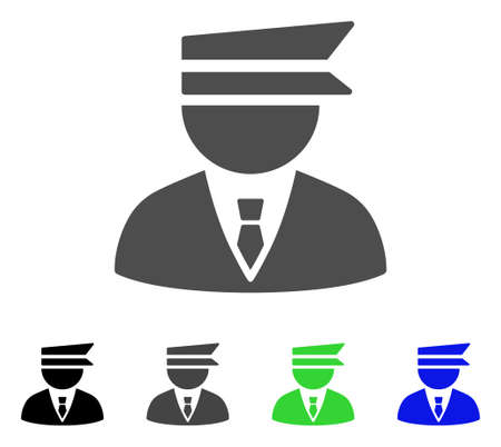 Police Officer vector pictograph. Style is a flat graphic symbol in black, gray, blue, green color versions. Designed for web and mobile apps. Illustration