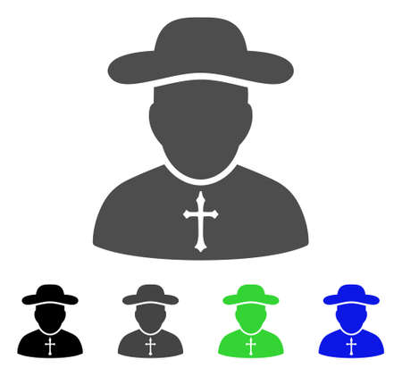Priest vector icon. Style is a flat graphic symbol in black, grey, blue, green color variants. Designed for web and mobile apps.