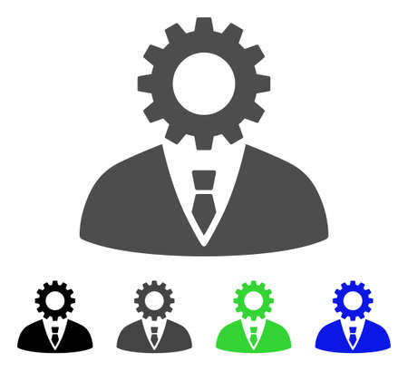 bureaucrat: Soulless Official Bureaucrat vector icon. Style is a flat graphic symbol in black, grey, blue, green color versions. Designed for web and mobile apps. Illustration
