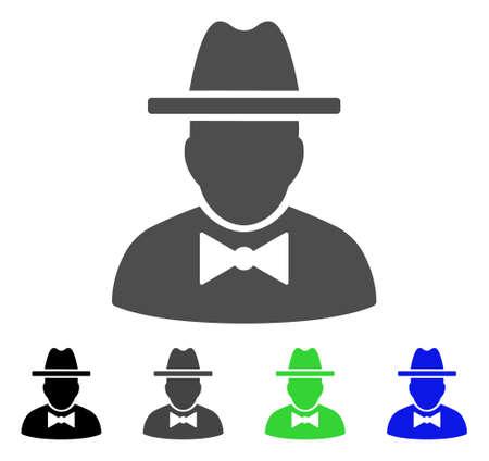 guardaespaldas: Espía vector pictograma. El estilo es un símbolo gráfico plano en versiones de color negro, gris, azul y verde. Diseñado para aplicaciones web y móviles.