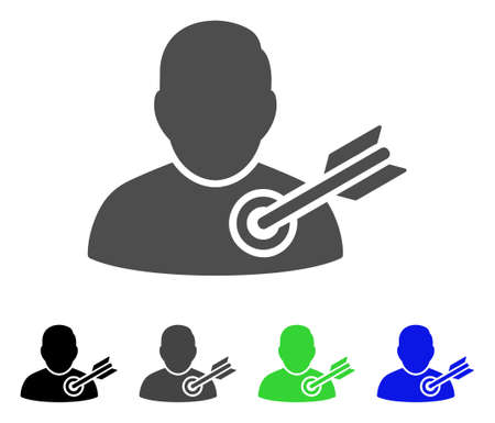 concurrent: Target User vector pictograph. Style is a flat graphic symbol in black, gray, blue, green color variants. Designed for web and mobile apps. Illustration