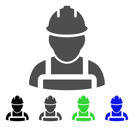 Worker vector icon. Style is a flat graphic symbol in black, gray, blue, green color variants. Designed for web and mobile apps.