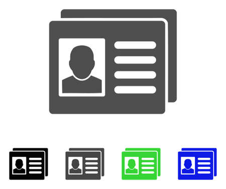 admittance: User Account Cards vector icon. Style is a flat graphic symbol in black, gray, blue, green color versions. Designed for web and mobile apps.