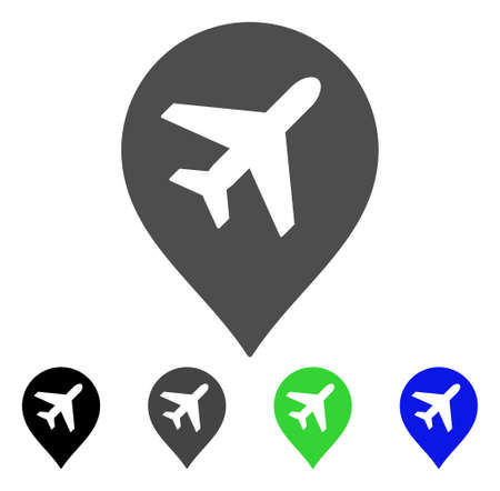Airplane Marker vector pictograph. Style is a flat graphic symbol in black, gray, blue, green color versions. Designed for web and mobile apps.