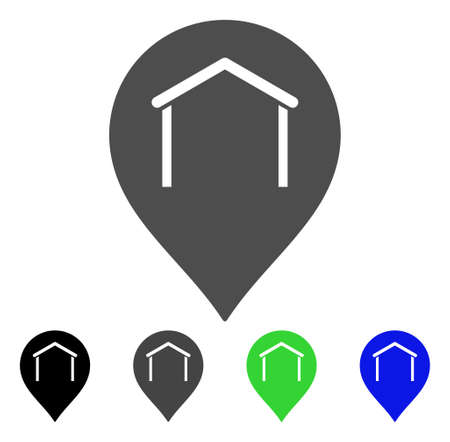 Hangar Map Marker vector pictograph. Style is a flat graphic symbol in black, gray, blue, green color versions. Designed for web and mobile apps. Illustration