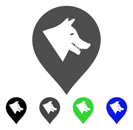 Evil Dog Marker vector icon. Style is a flat graphic symbol in black, grey, blue, green color versions. Designed for web and mobile apps. Illustration
