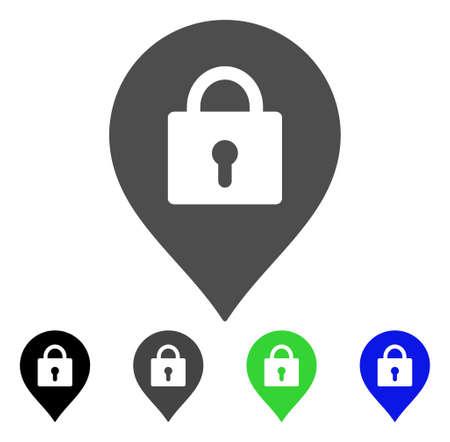 Pictogramme de vecteur de marqueur de casier. Le style est un symbole graphique plat dans les versions de couleur noire, grise, bleue et verte. Conçu pour les applications Web et mobiles.