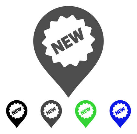 newest: New Marker vector pictograph. Style is a flat graphic symbol in black, grey, blue, green color versions. Designed for web and mobile apps.