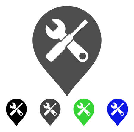 Repair Tools Map Marker vector pictograph. Style is a flat graphic symbol in black, grey, blue, green color variants. Designed for web and mobile apps. Illustration