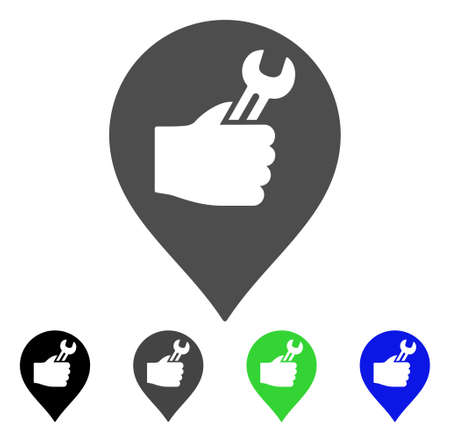 map toolkit: Service Hand Marker vector pictograph. Style is a flat graphic symbol in black, grey, blue, green color versions. Designed for web and mobile apps.