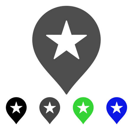 Star Favourites Marker vector icon. Style is a flat graphic symbol in black, grey, blue, green color variants. Designed for web and mobile apps.