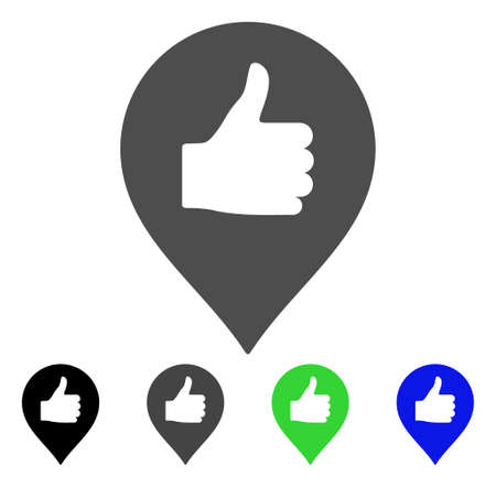 verify: Thumb Up Map Marker vector pictograph. Style is a flat graphic symbol in black, gray, blue, green color versions. Designed for web and mobile apps.