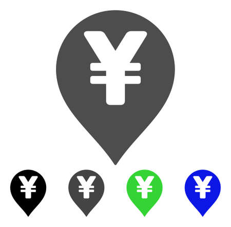 Yen Map Marker vector pictograph. Style is a flat graphic symbol in black, gray, blue, green color versions. Designed for web and mobile apps.