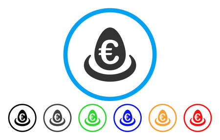 Icon illustration style in a grey flat iconic euro deposit egg symbol inside a circle with additional color variants are black, gray, green, blue, red, orange. Illustration