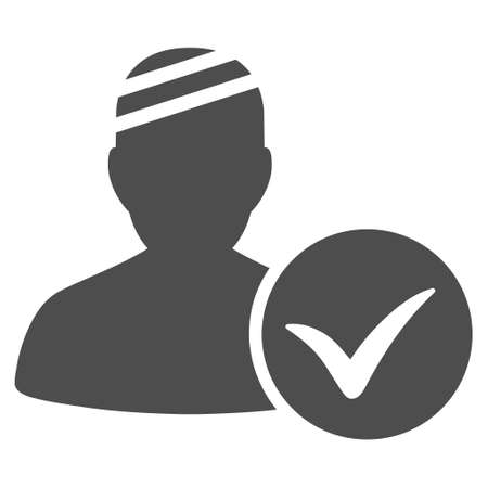 Patient Ok vector pictograph. Style is flat graphic gray symbol.