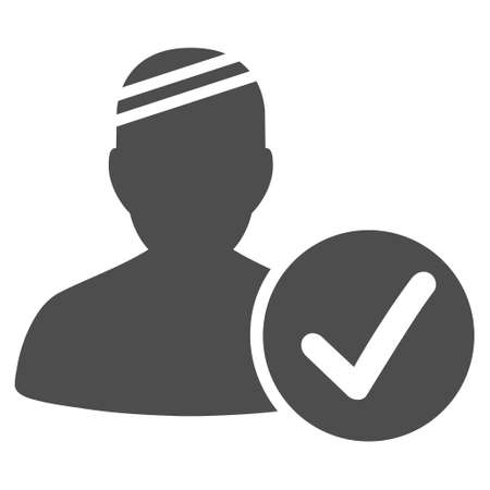Patient Valid vector pictograph. Style is flat graphic grey symbol.