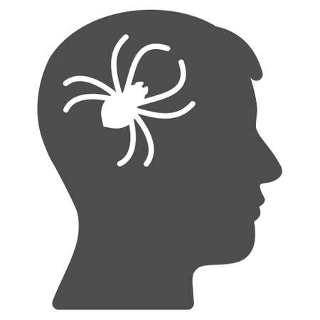 Mental Parasite Spider vector pictograph. Style is flat graphic grey symbol.