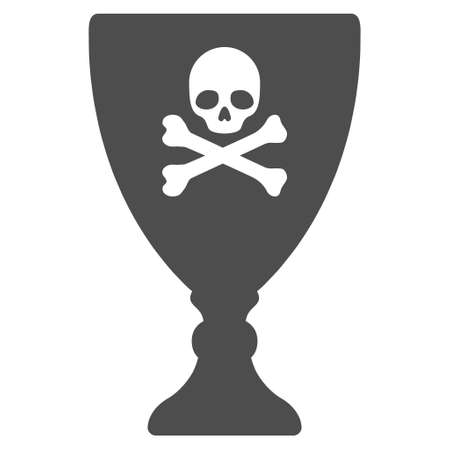 toxic substance: Poison Cup vector pictogram. Style is flat graphic gray symbol. Illustration
