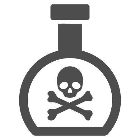 Poison Retort vector icon. Style is flat graphic grey symbol.