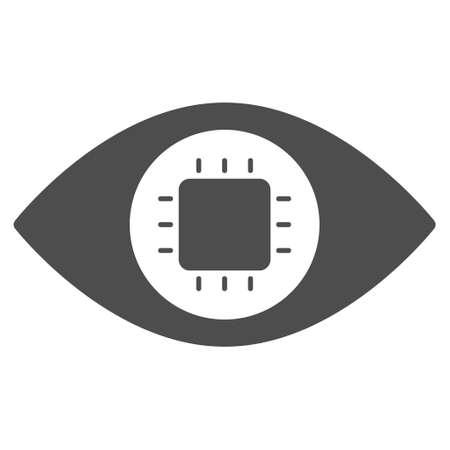 バイオニックの目回路ベクトル絵文字。スタイルは、フラット グレーのシンボルです。