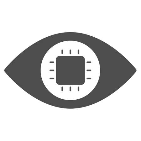 macular: Bionic Eye Circuit vector pictograph. Style is flat graphic grey symbol. Illustration
