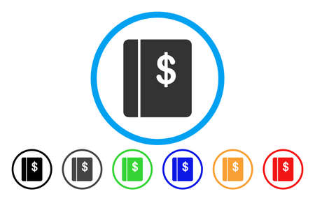 Dollar Accounting Book rounded icon. Vector illustration style is a gray flat iconic accounting book symbol inside a circle. Additional color versions are black, grey, green, blue, red, orange.