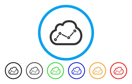 Chart Cloud rounded icon. Vector illustration style is a gray flat iconic chart cloud symbol inside a circle. Additional color variants are black, grey, green, blue, red, orange. Vektorové ilustrace