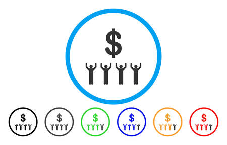 Dollar praise rounded icon. Vector illustration style is a grey flat iconic dollar religion symbol inside a circle. Additional color versions are black, grey, green, blue, red, orange.