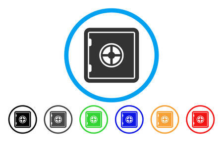 private security: Safe rounded icon. Vector illustration style is a grey flat iconic safe symbol inside a circle. Additional color versions are black, grey, green, blue, red, orange.