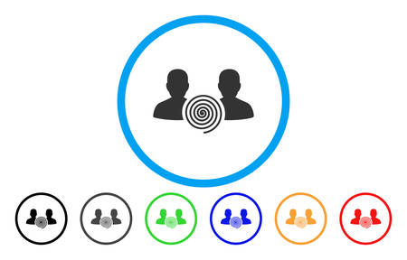 Hypnosis Sect rounded icon. Vector illustration style is a gray flat iconic hypnosis sect symbol inside a circle. Additional color variants are black, gray, green, blue, red, orange. Çizim