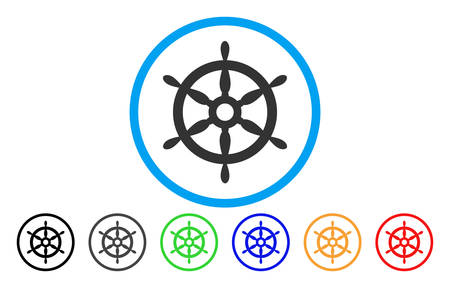 Ship Steering Wheel rounded icon. Vector illustration style is a gray flat iconic ship steering wheel symbol inside a circle. Additional color variants are black, grey, green, blue, red, orange. Illustration