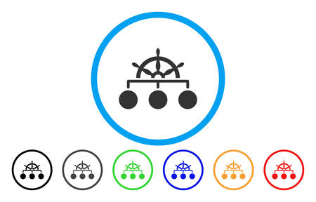 Ship Wheel Hierarchy rounded icon. Vector illustration style is a gray flat iconic ship wheel hierarchy symbol inside a circle. Additional color versions are black, grey, green, blue, red, orange.