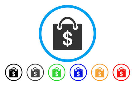 gift basket: Shopping Bag rounded icon. Vector illustration style is a gray flat iconic shopping bag symbol inside a circle. Additional color versions are black, grey, green, blue, red, orange.
