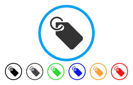 Tag rounded icon. Vector illustration style is a gray flat iconic tag symbol inside a circle. Additional color variants are black, gray, green, blue, red, orange. Illustration